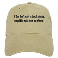 Humorous Anti-Peta Animal Meat Quote Baseball Cap