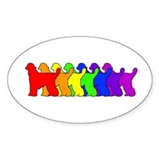 Rainbow Afghan Hound Oval Decal