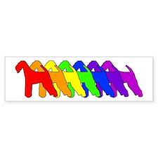 Rainbow Airedale Terrier Bumper Car Sticker