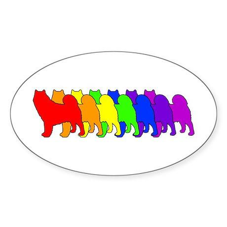 Rainbow Alaskan Malamute Oval Sticker