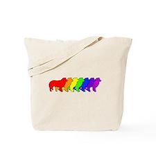 Rainbow Border Collie Tote Bag