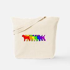Rainbow Border Terrier Tote Bag