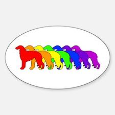 Rainbow Borzoi Oval Decal