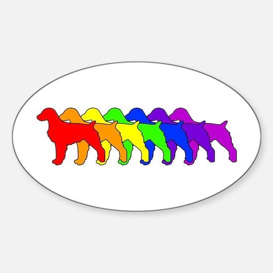Rainbow Brittany Spaniel Oval Decal