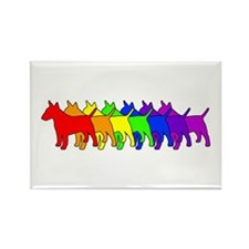 Rainbow Bull Terrier Rectangle Magnet