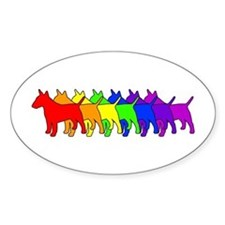 Rainbow Bull Terrier Oval Decal