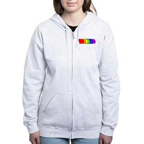 Rainbow Chow Chow Women's Zip Hoodie