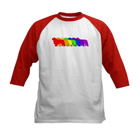 Rainbow Clumber Spaniel Kids Baseball Jersey