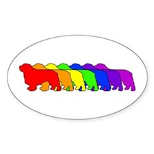 Rainbow Clumber Spaniel Oval Decal