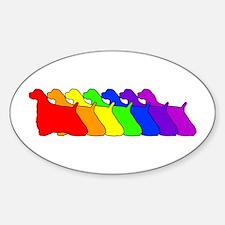 Rainbow Cocker Spaniel Oval Decal