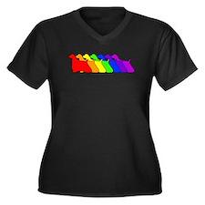 Rainbow Cocker Spaniel Women's Plus Size V-Neck Da