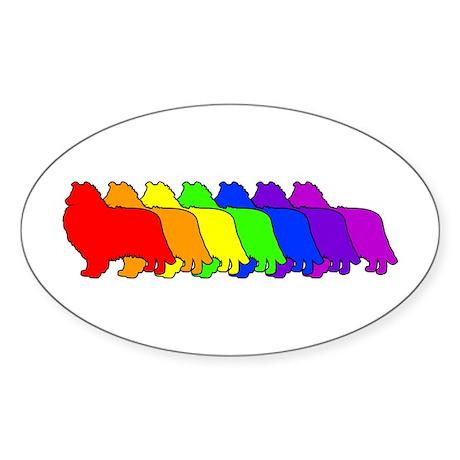 Rainbow Collie Oval Sticker