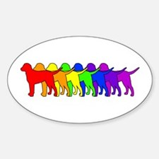 Rainbow Curly Oval Decal