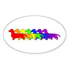 Rainbow Dachshund Oval Decal