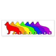 Rainbow German Shepherd Bumper Car Sticker