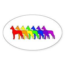 Rainbow Great Dane Oval Decal