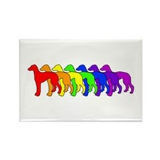 Rainbow Greyhound Rectangle Magnet
