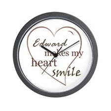 Edward makes my heart smile Wall Clock