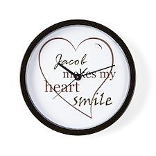 Jacob makes my heart smile Wall Clock