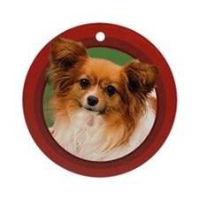Papillon Round Red Ornament