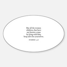 NUMBERS 31:18 Oval Decal