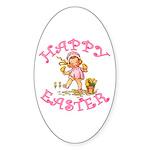 Cute Kewpie Style Art Easter Oval Sticker (10 pk)