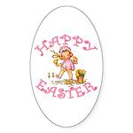 Cute Kewpie Style Art Easter Oval Sticker (50 pk)