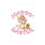 Cute Kewpie Style Art Easter Rectangle Sticker 10