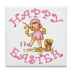 Cute Kewpie Style Art Easter Tile Coaster