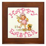 Cute Kewpie Style Art Easter Framed Tile
