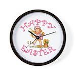 Cute Kewpie Style Art Easter Wall Clock