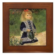 Renoir Girl w Watering Can Framed Tile