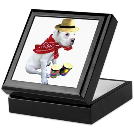 White Boxer Puppy Keepsake Box