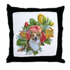CORGI ON ROSES-Throw Pillow