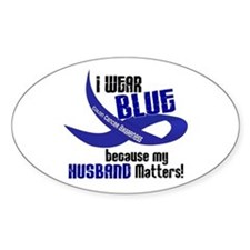 I Wear Blue For My Husband 33 CC Oval Decal