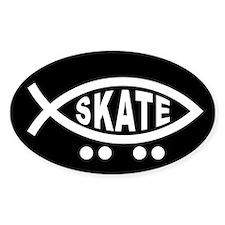 Skating Fish Sticker (black) (Oval)