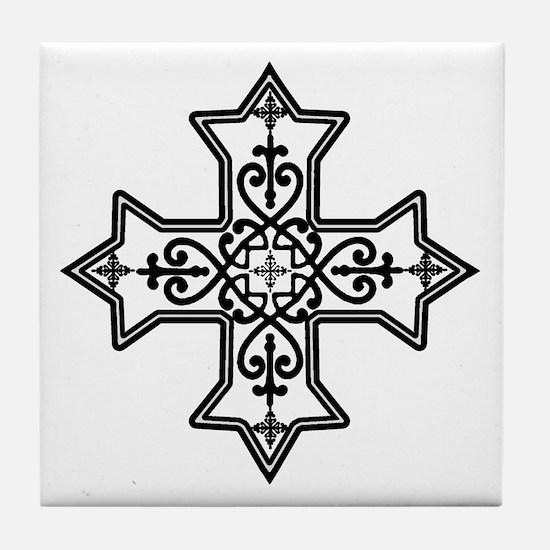 Black and White Coptic Cross Tile Coaster