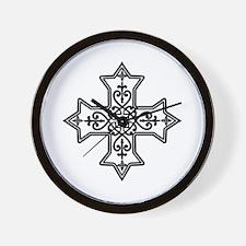 Black and White Coptic Cross Wall Clock
