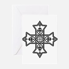 Black and White Coptic Cross Greeting Cards (Pk of