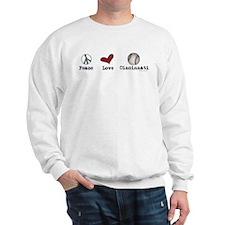 oddFrogg Peace Love Cincinnati Sweatshirt