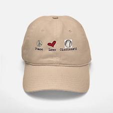 oddFrogg Peace Love Cincinnati Baseball Baseball Cap