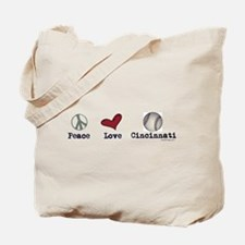 oddFrogg Peace Love Cincinnati Tote Bag