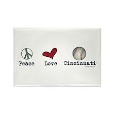 oddFrogg Peace Love Cincinnati Refrigerator Magnet