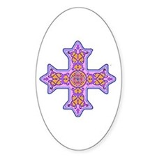 Violet Coptic Cross Oval Decal