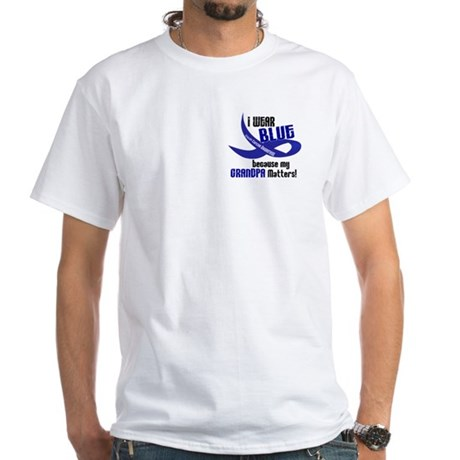 I Wear Blue For My Grandpa 33 CC White T-Shirt