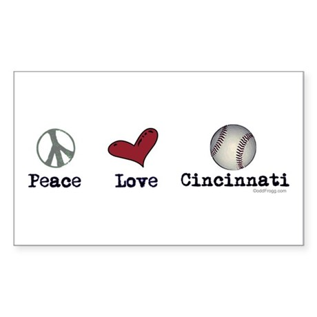 oddFrogg Peace Love Cincinnati Bumper Sticker