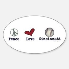 oddFrogg Peace Love Cincinnati Bumper Decal