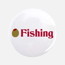 """Olive (I Love) Fishing 3.5"""" Button"""