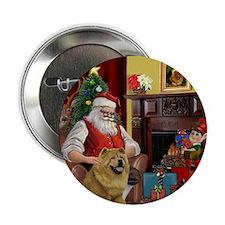 """Santa's 2 Chow Chows 2.25"""" Button"""