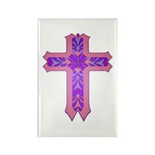 Pink and Purple Cross Rectangle Magnet (10 pack)
